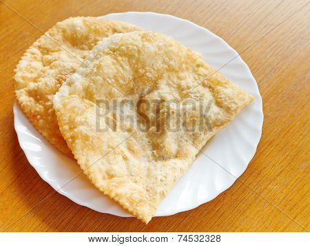 Cheburek Pie On White Plate