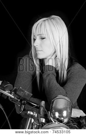 Woman Motorcycle Look Side Down On Black White