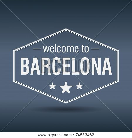 Welcome To Barcelona Hexagonal White Vintage Label