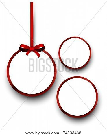 Christmas round gift cards with red ribbons and satin bows. Vector illustration.