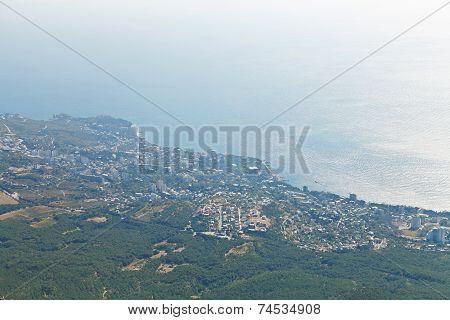 Black Sea And Big Yalta On South Coast Of Crimea
