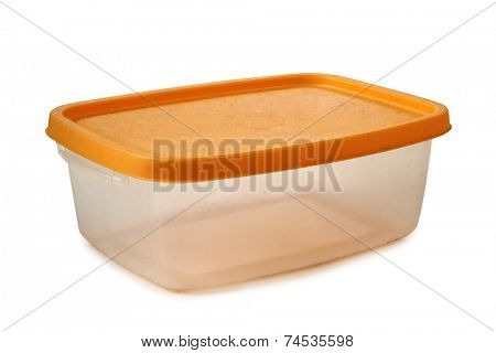 Plastic food containers on a white background