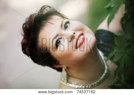 Chubby woman smiling