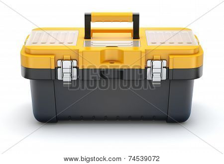 Yellow black plastic toolbox