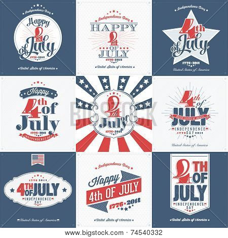 A Set of Nine Vintage Greeting Cards: Happy Independence Day, United States of America, 4th of July,