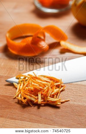 Closeup Of Chopped Orange Peel