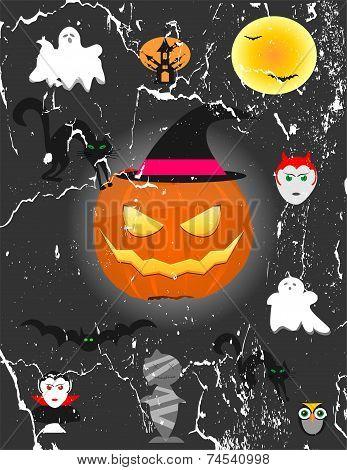 Glowing Pumpkin Bats And Yellow Moon