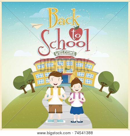 Welcome Back to School Background. Schoolboy and schoolgirl go to school.