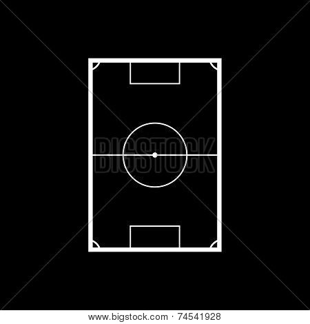 Football Field Vector Illustration On Black Background