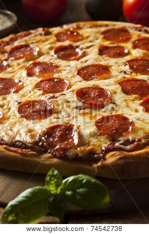 Hot Homemade Pepperoni Pizza
