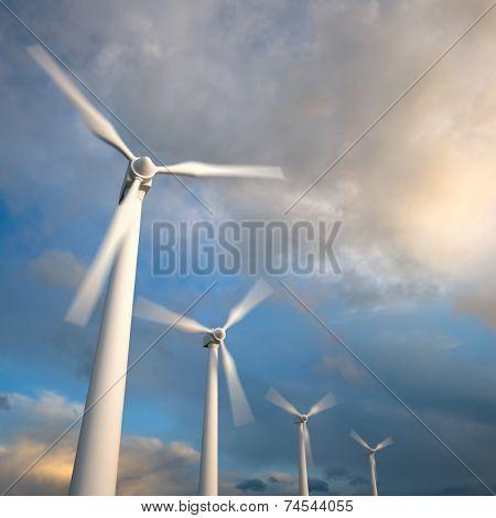 Wind Generator Turbines , Blurred Motion