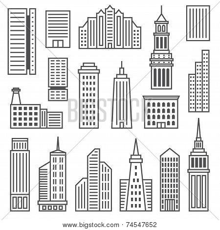 Skyscrapers icons. Modern gray silhouettes of buildings and skyscrapers