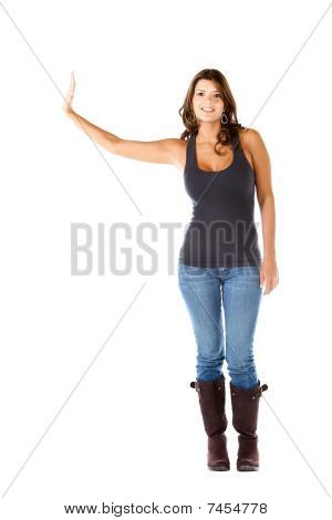 Casual Woman Displaying Something