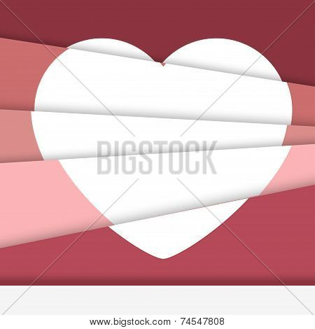 Creative Valentine's day card. Asymmetric heart formed from paper