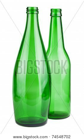 Two Green Empty Bottles