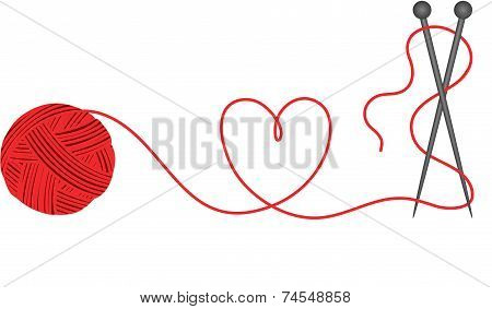 Wool knitting heart shape