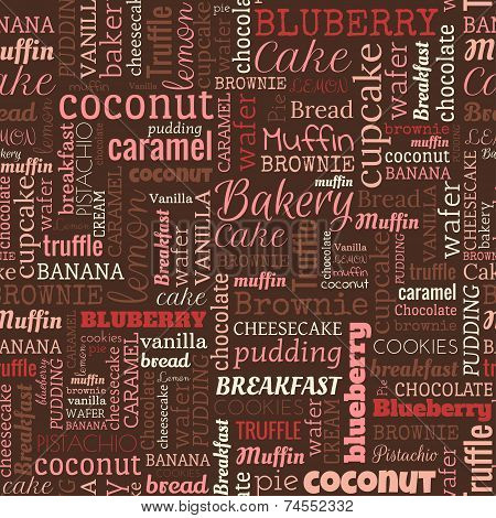 Bakery words, tags. Seamless pattern