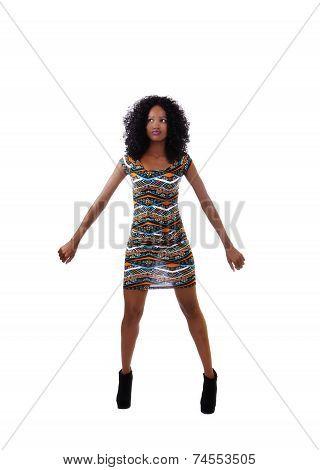 Attractive Skinny African American Teen Woman Dress
