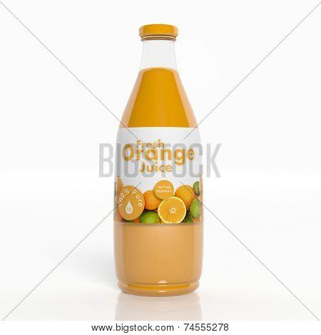 3D orange juice transparent glass bottle isolated on white