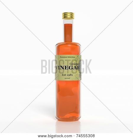3D vinegar glass bottle isolated on white