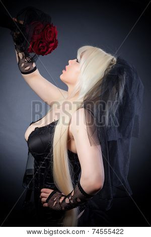 Black Widow In Grief  With Flowers  With A Veil
