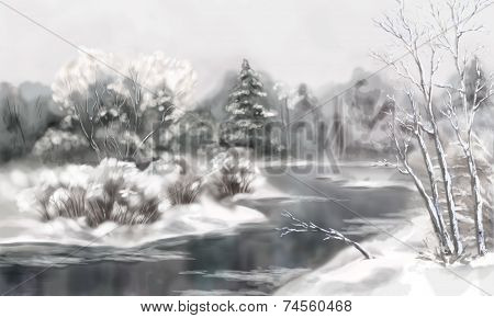 Winter Digital Watercolor Landscape