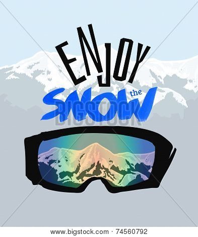 Snowboarding goggles and positive lettering: