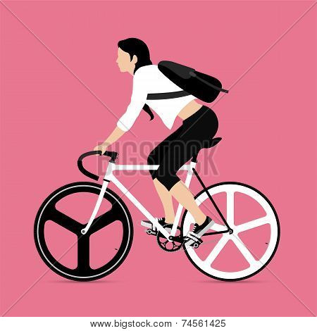 Cyclists and fixed gear bicycle
