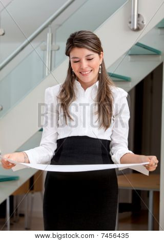 Business Woman Holding A Paper