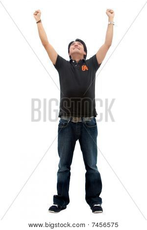 Casual Man With Arms Up
