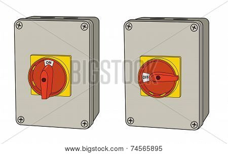 Industrial electrical rotary switch, on and off versions
