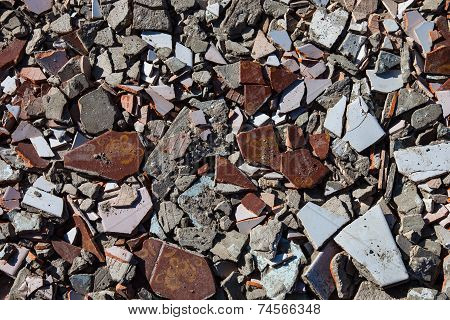 Pieces Of Beaten Tiles And Concrete Blocks