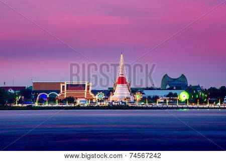 Phra Samut Chedi at Sunset Samutprakan Thailand