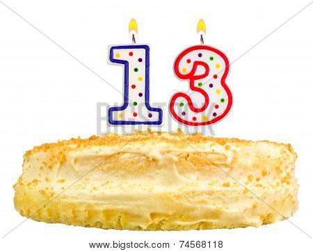 Birthday Cake  Number Thirteen Isolated On White