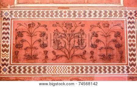 Polished Sandstone Surface. Taj Mahal, Agra, India