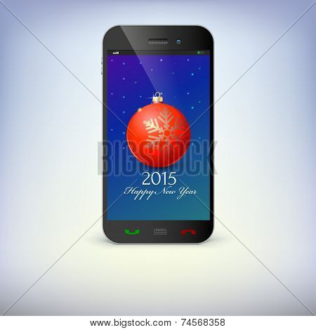 Front view of christmas phone isolated. New Year symbols in smartphone .