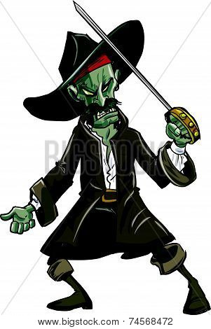 Cartoon evil zombie pirate