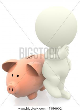 3D Man Leaning On Piggybank