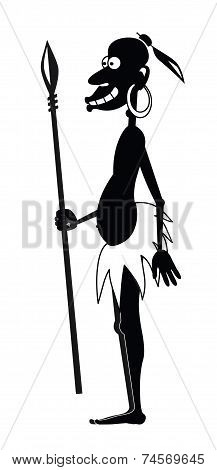Aboriginal With A Spear And A Earring