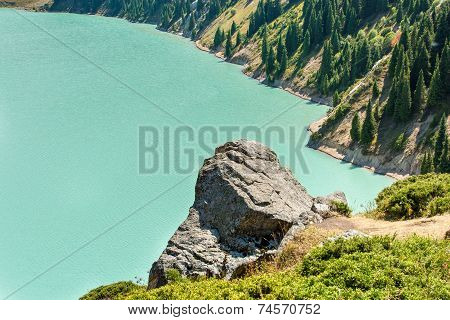 Spectacular Scenic Big Almaty Lake ,tien Shan Mountains In Almaty, Kazakhstan,asia At Summer