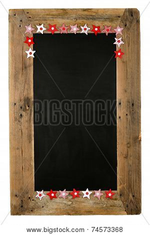Chalkboard Christmas Restaurant Menu Board Reclaimed Wood Small Red Pillow Stars