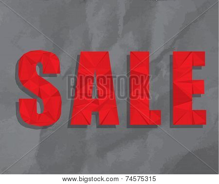 Modern polygonal SALE advertising on crumpled paper texture background