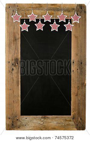 Chalkboard Christmas Restaurant Menu Board Reclaimed Wood Gingham Stars