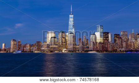 Manhattan skyline during the blue hour