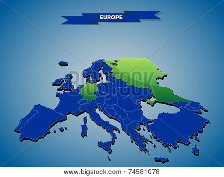 3 dimensional infographics political map of European countries, with every state easy selectable and