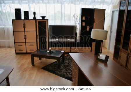 living room with big window