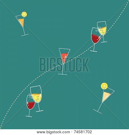 Glasses of Drink Seamless Pattern against Blue Background