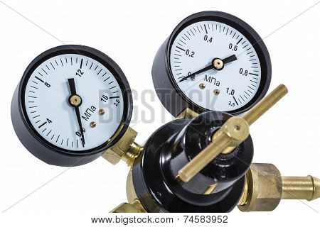 Gas Pressure Regulator With Manometer, Isolated With Clipping Path