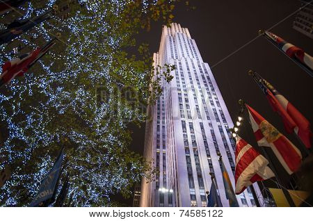 Rockefeller Center Decorated For Christmas Time In New York