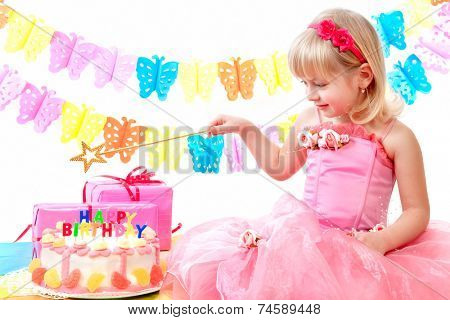 little princess and her birthday cake